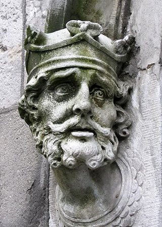 18th century carving of Brian Boru from Dublin Castle