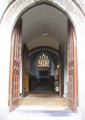 Open doors of Saint Columba's Church, photo copyright Jonathan Foley 2014